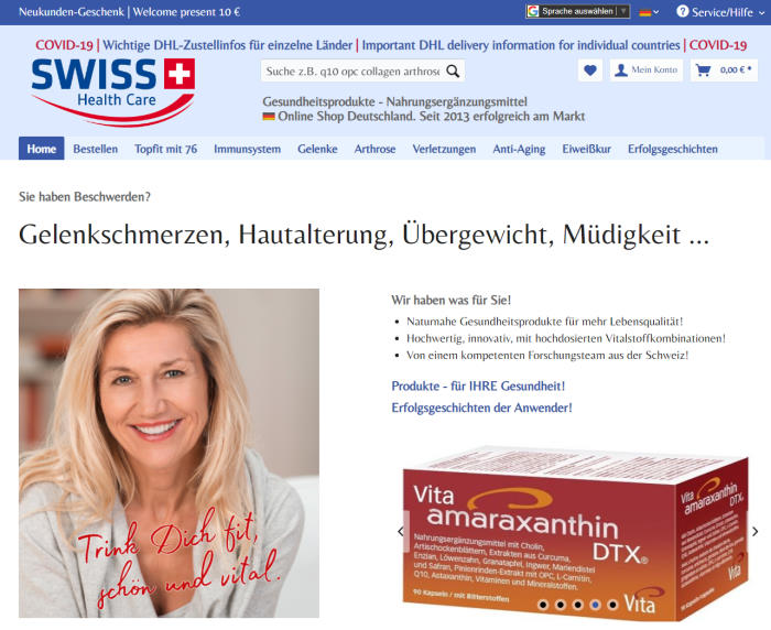 Online-Shop Swiss health Care AG